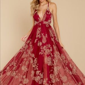 Wine Red Maxi Floral Dress